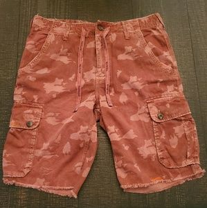 True Religion red camo cutoff shorts